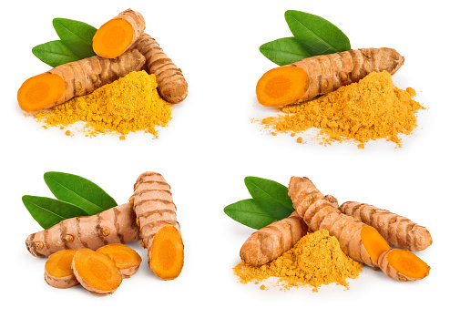 Set or collection turmeric powder and turmeric root isolated on white background with copy space for your text. Top view. Flat lay.