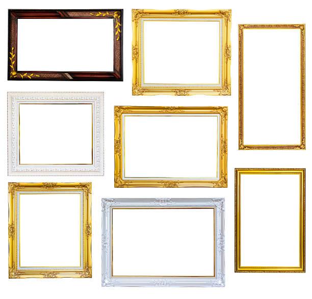 Satz Bilderrahmen isoliert auf weißem Hintergrund – Foto