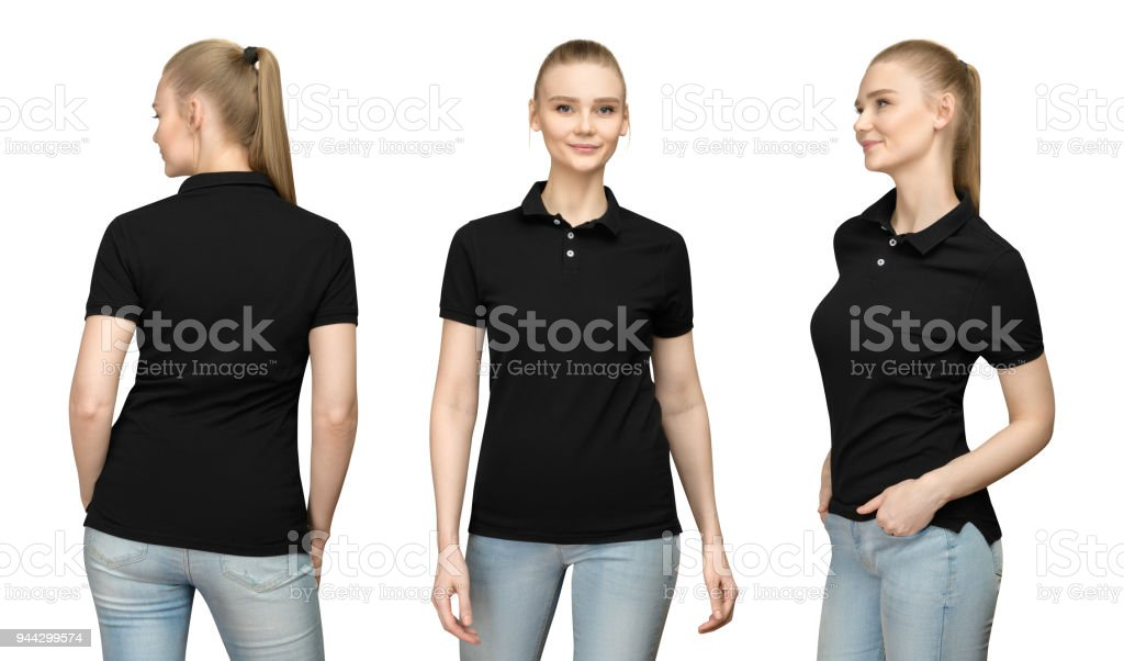 Set promo pose girl in blank black polo shirt mockup design for print and concept template young woman in T-shirt front and half turn  side back view isolated white background with clipping path stock photo