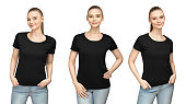 Set promo pose girl in blank black tshirt mockup design for print and concept template young woman in T-shirt front and half turn side view isolated white background with clipping path.