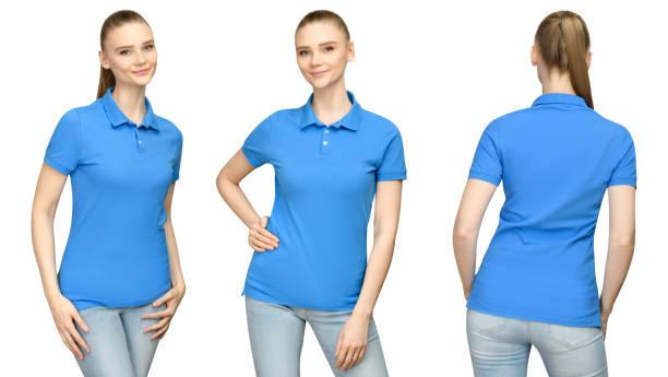 set promo vormen meisje in lege blauwe polo shirt mockup ontwerp voor print en concept sjabloon jonge vrouw in t-shirt voorzijde en kant terug bekijken geïsoleerde witte achtergrond met uitknippad - korte mouwen stockfoto's en -beelden