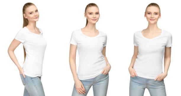 set promo vormen meisje in lege witte tshirt mockup ontwerp voor print en concept sjabloon jonge vrouw t-shirt vooraan en de helft zet kant de witte achtergrond van het weergave geïsoleerd met uitknippad - korte mouwen stockfoto's en -beelden