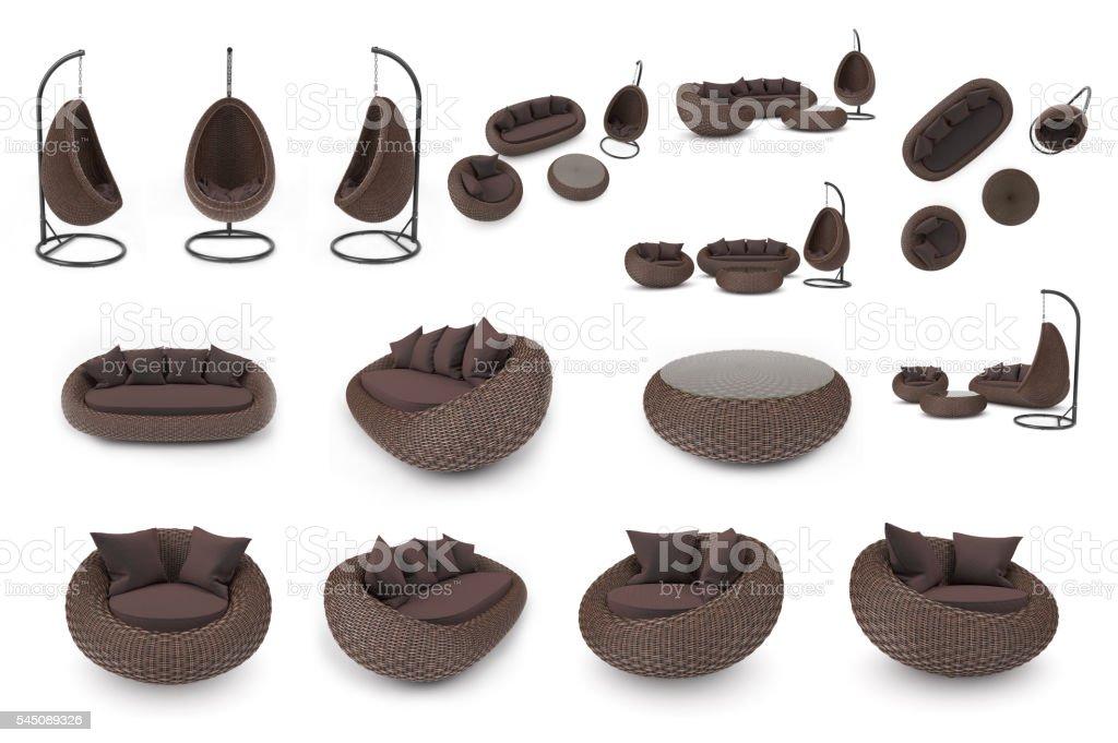 Set rattan furniture stock photo