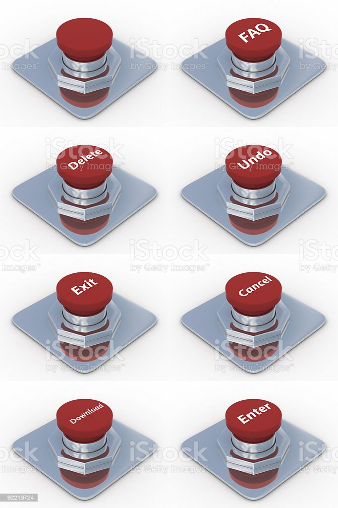 set red buttons on a white background. 3D image stock photo