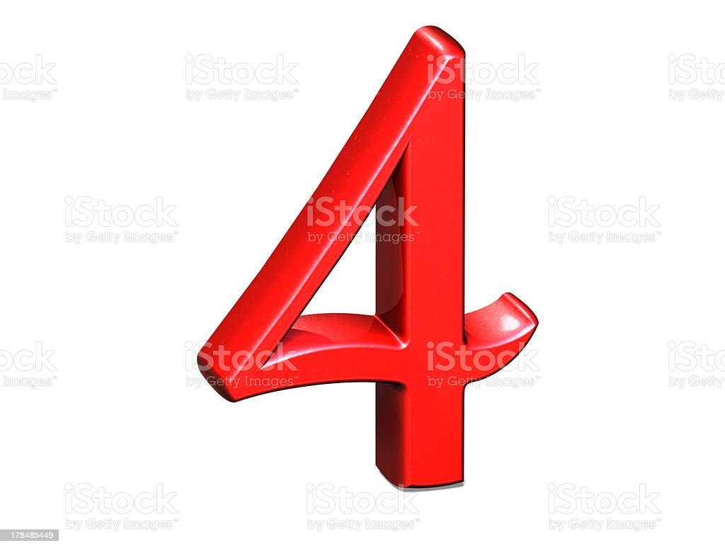 3D Set red number on white background stock photo