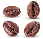 Set roasted coffee beans isolated on white background. Clipping Path. Full depth of field.