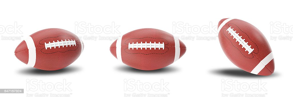 Set rugby american ball isolated on white background. 3d illustration​​​ foto