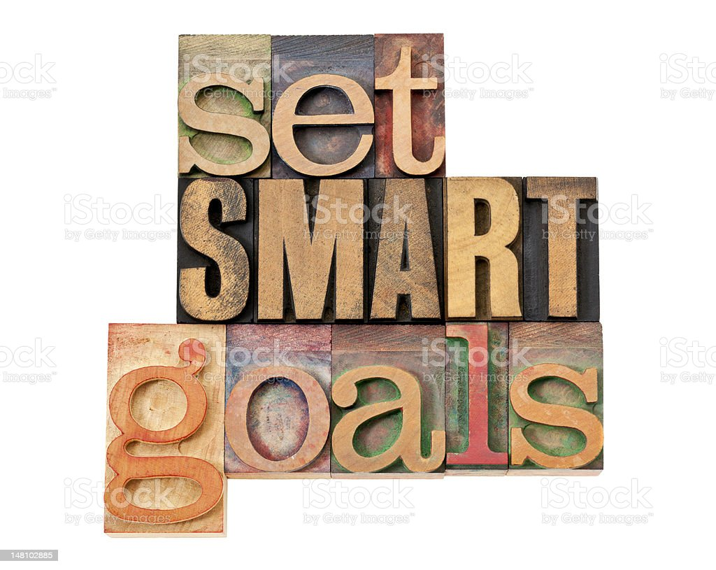set SMART goals in wood type royalty-free stock photo