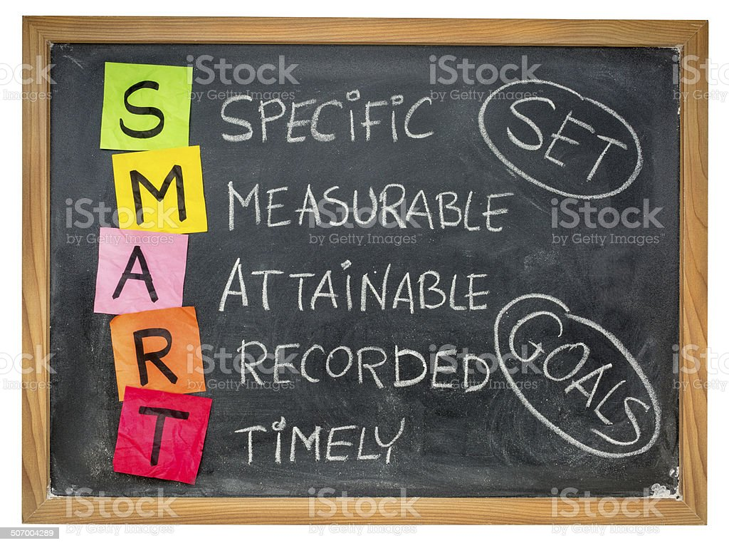 set smart goals on blackboard stock photo