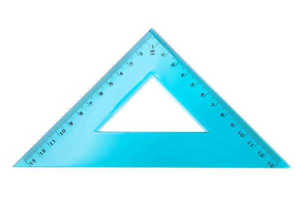 set square triangle isolated on white background - ruler stock photos and pictures