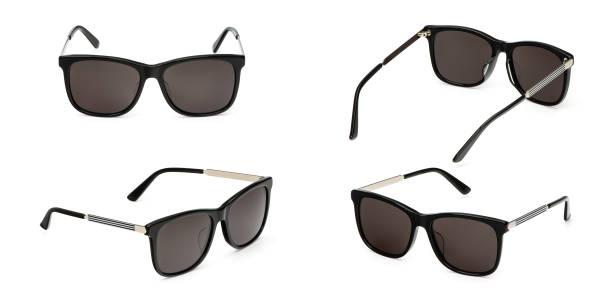 흰색 배경에 고립 된 편광 된 그라데이션 블랙 플라스틱 여름 태양 안경 설정. 컬렉션 패션 눈 안경 - 선글라스 뉴스 사진 이미지