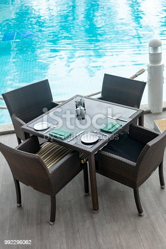 Set table by the swimming pool