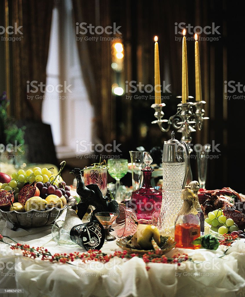 Set table in baroque style stock photo
