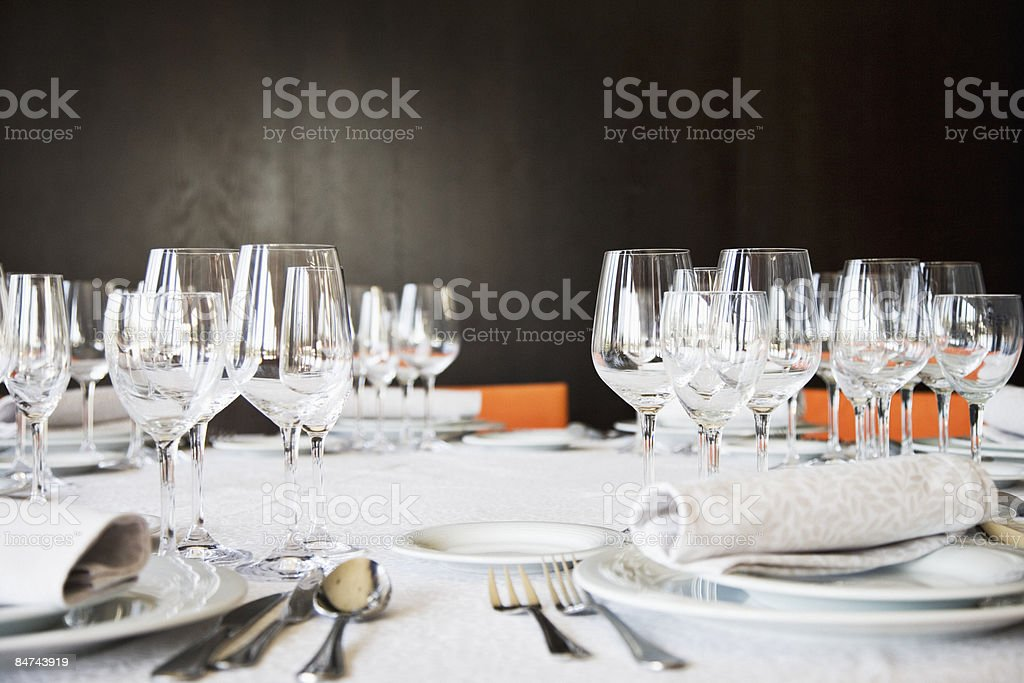Set table in restaurant stock photo
