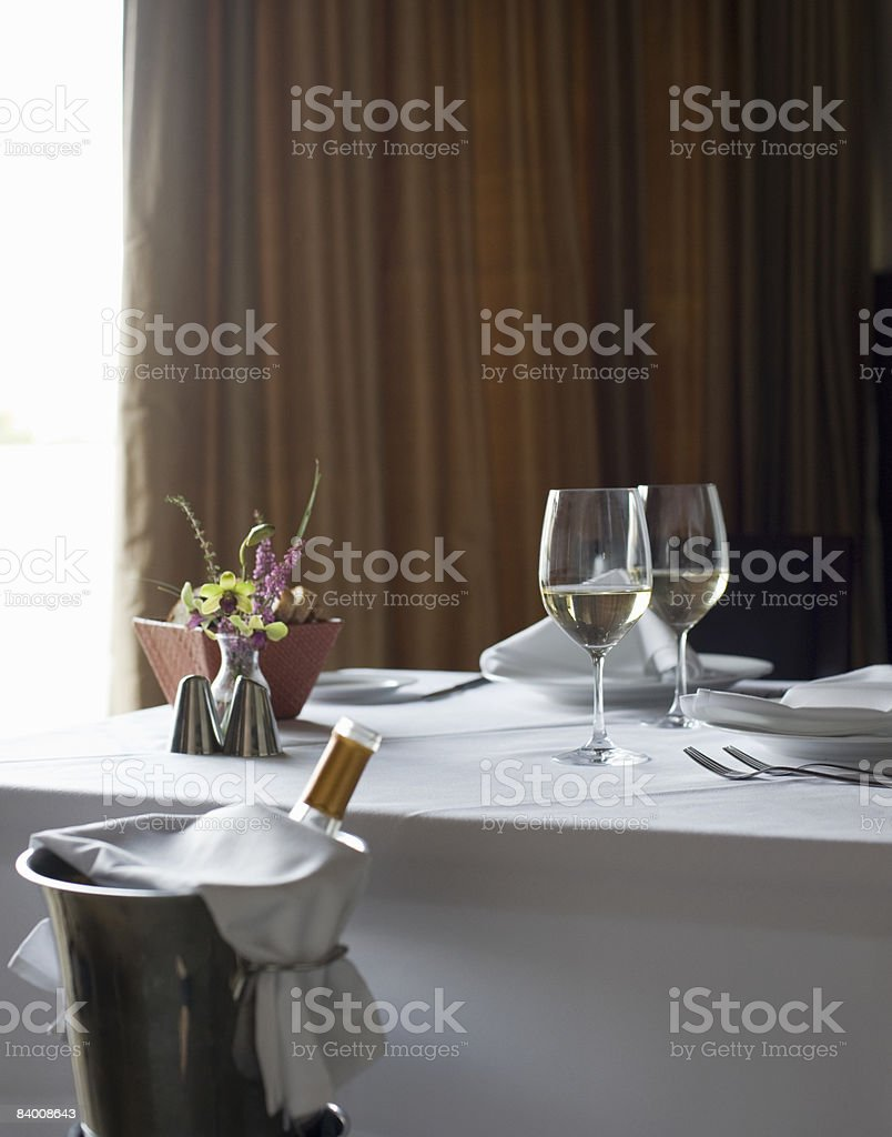 Set table with wine. royalty-free stock photo