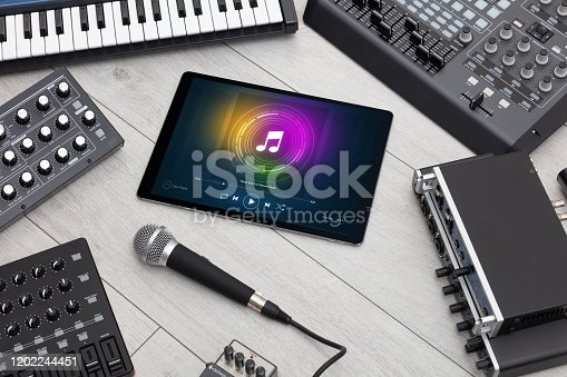 istock DJ set, tablet and electronic music instruments 1202244451