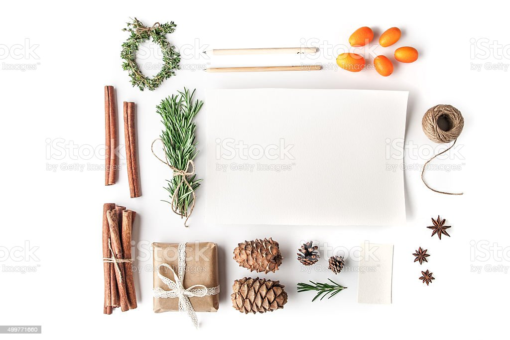 Set to create  Christmas card on the white background horizontal stock photo