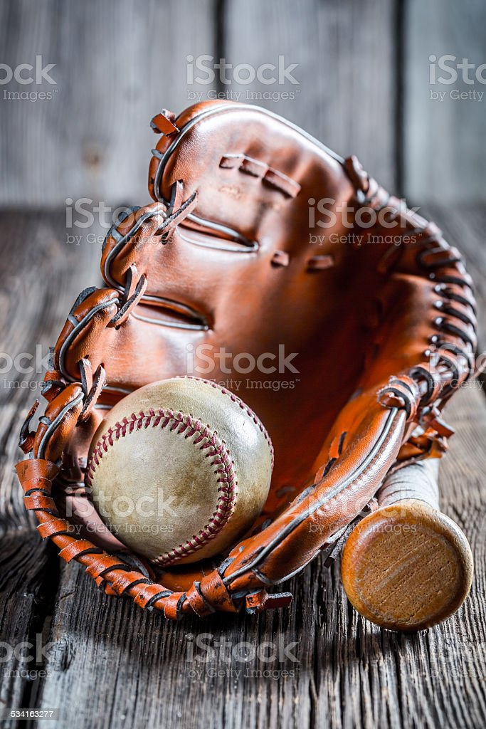 Set to play baseball stock photo