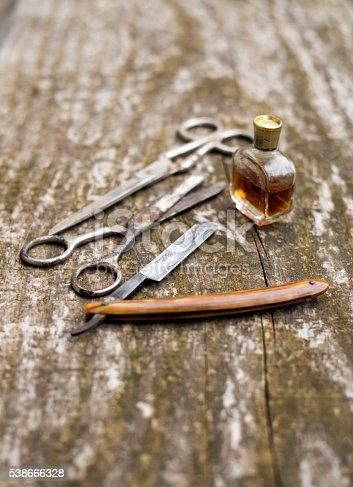 istock Set tools forperfume barber 538666328