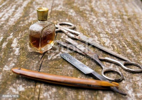 istock Set tools forperfume barber 538667824