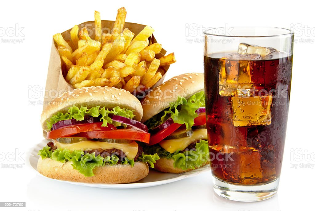 Set two cheeseburgers,french fries,glass cola on plate stock photo