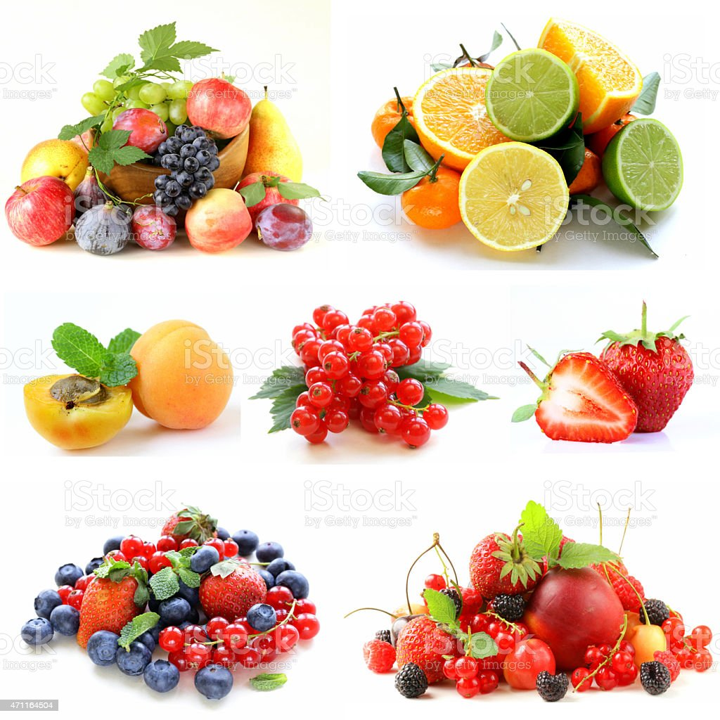 Set various berries and fruits (strawberries, currant, apricots and citrus) stock photo