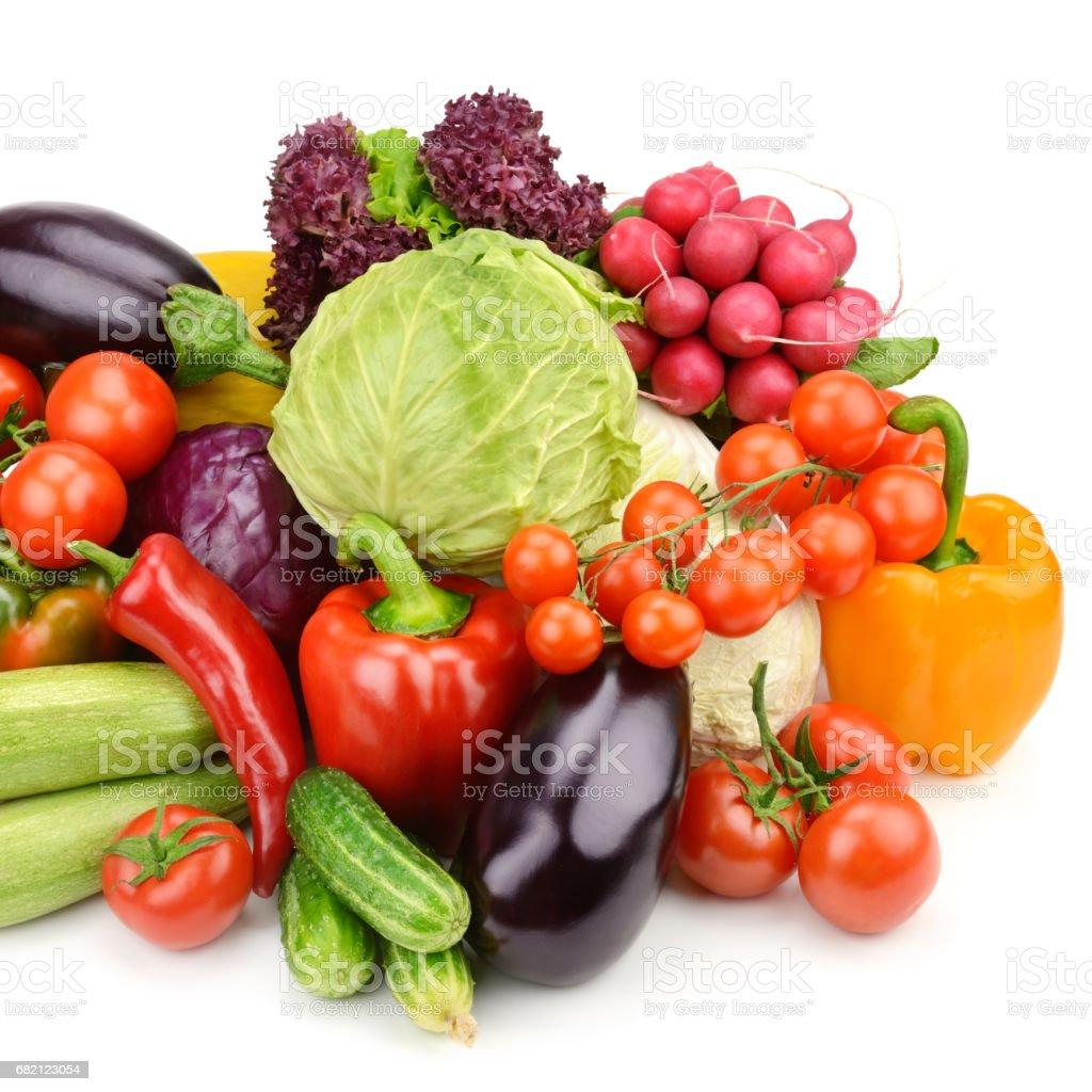 野菜は、白い背景で隔離の設定します。 ストックフォト