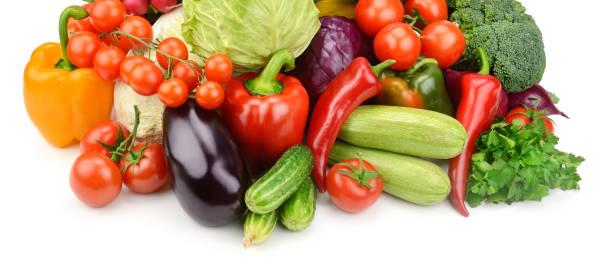 野菜は、白い背景で隔離の設定します。 - ローフード ストックフォトと画像
