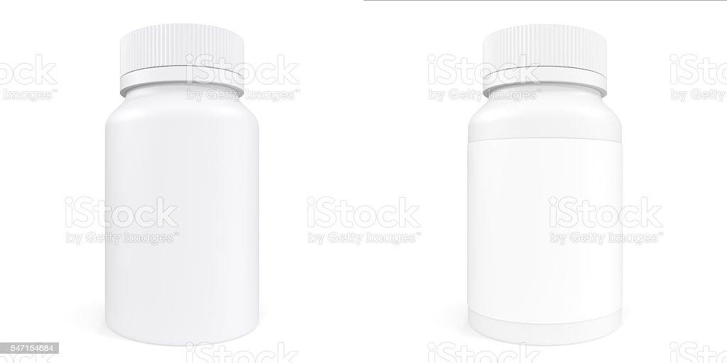 Set White Bottle Of Prescription Pill With Labels Template 3d Lizenzfreies Stock Foto