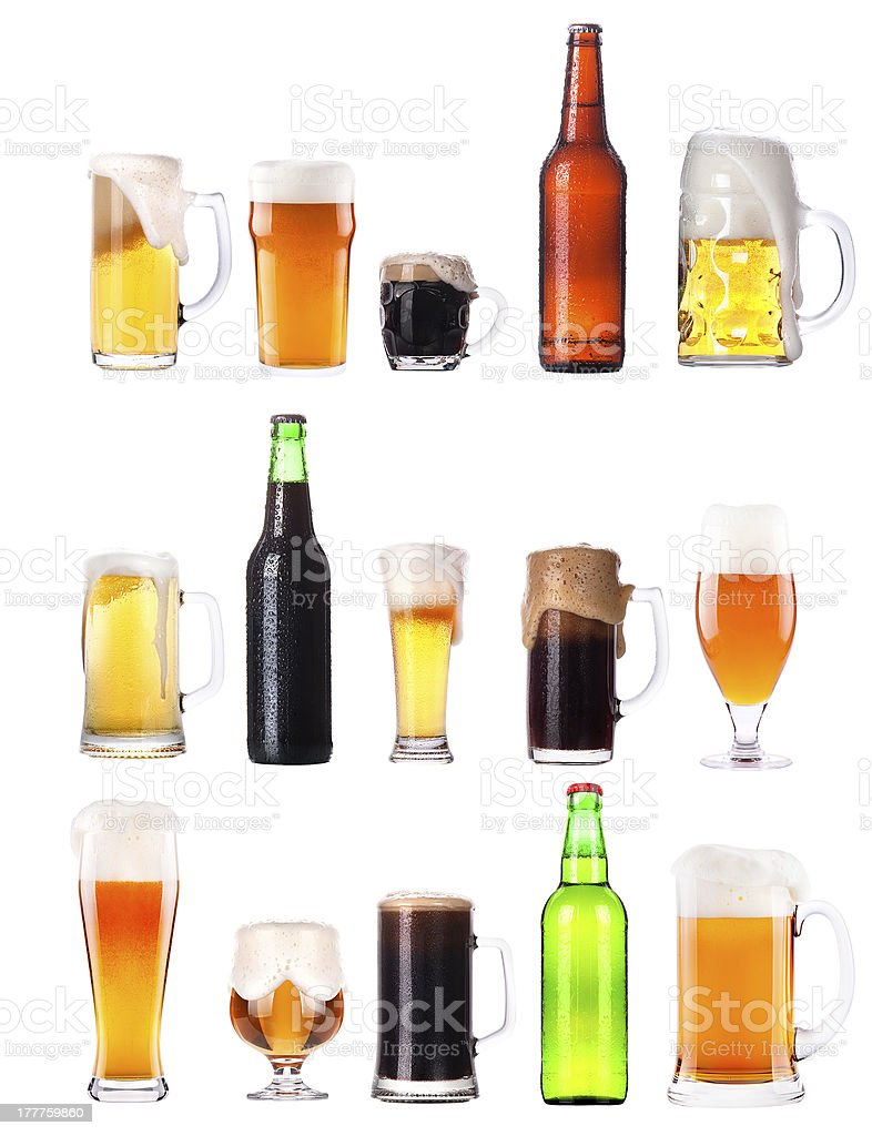 set with different beer on white background stock photo
