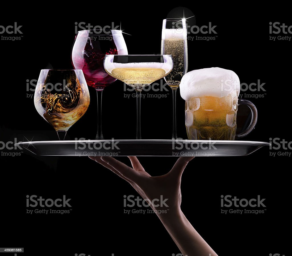 set with different drinks on black background stock photo