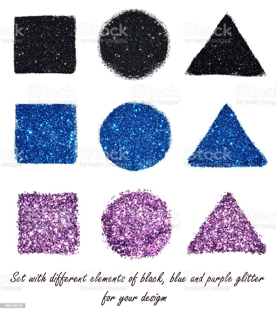 Set with different elements of black, blue and purple glitter photo libre de droits