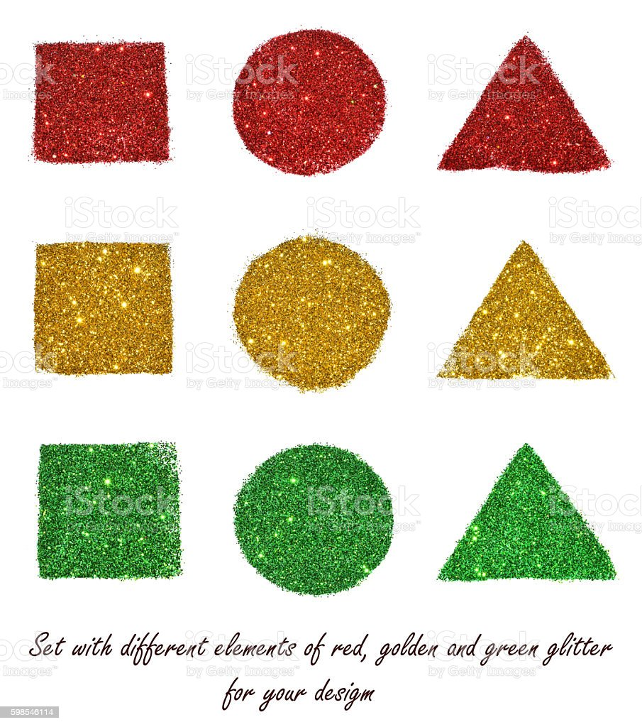 Set with different elements of red, golden and green glitter stock photo