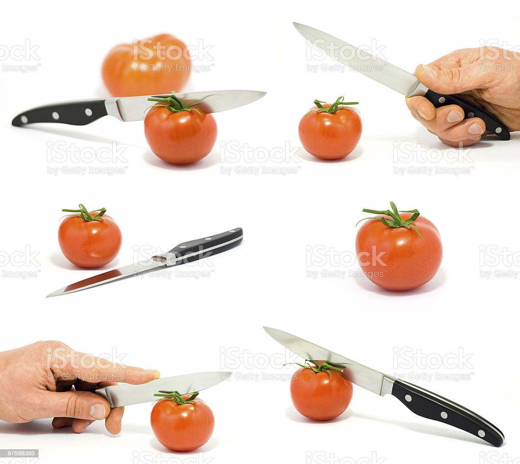 Set with tomatoes, knife and hand royalty-free stock photo