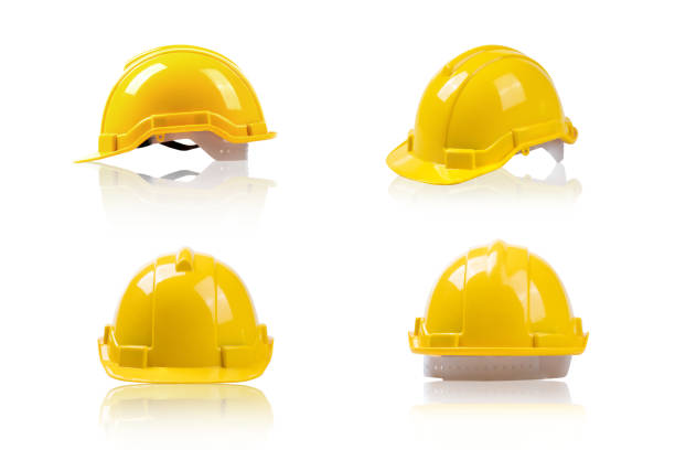 set yellow deferential helmet, construction tools for industrial safety isolated on white background set yellow deferential helmet, construction tools for industrial safety isolated on white background deferential stock pictures, royalty-free photos & images