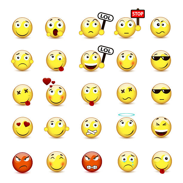 set yellow smiley face with a different mood - emoticons stock photos and pictures