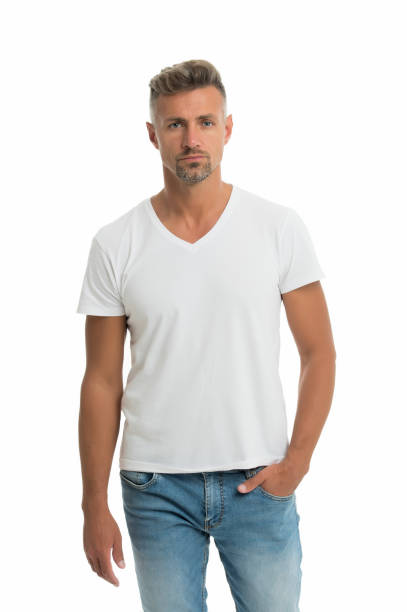 Set your trend. Middle-aged man. Handsome man isolated on white. Man in casual style. Caucasian man with unshaven face hair. Single or bachelor. Fashion and style. Hair salon. Barbershop stock photo