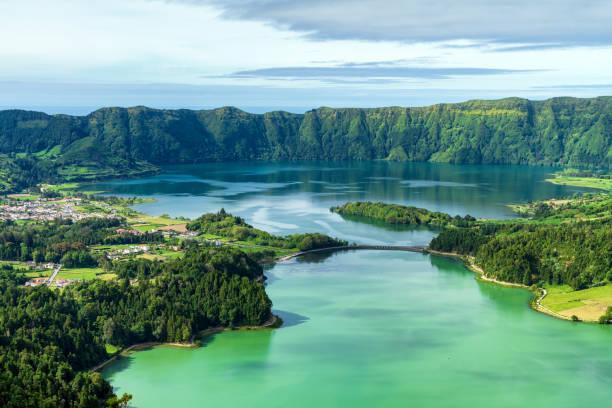 Sete Cidades lake in The Azores stock photo