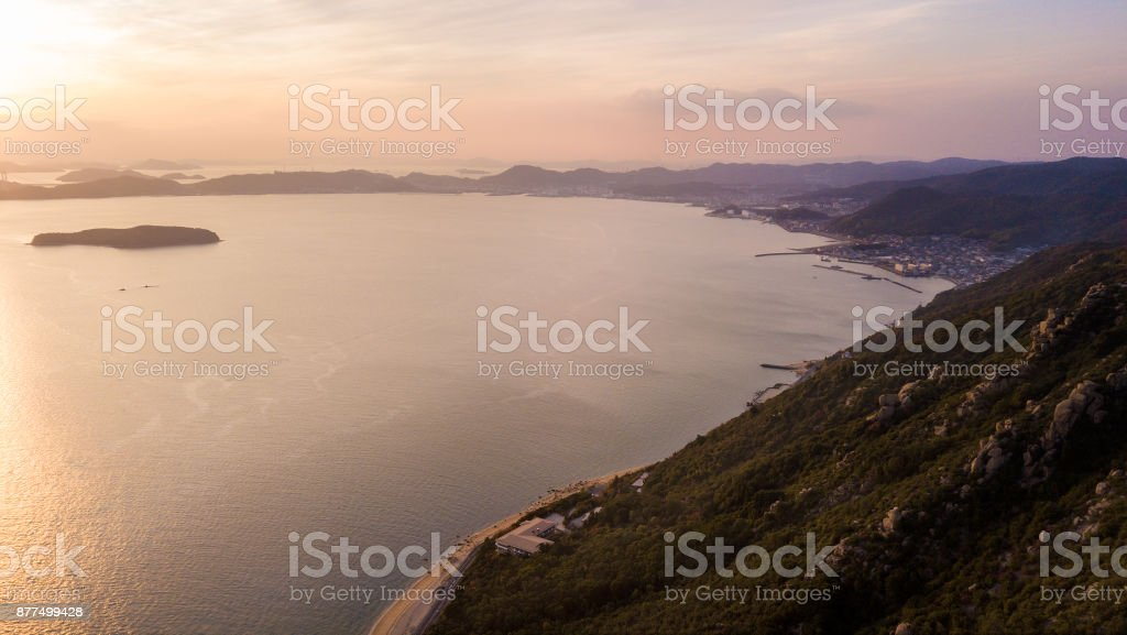 Seto inland sea from the air as the sunsets stock photo