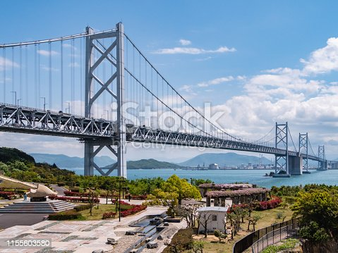 Seto Ohashi Bridge from Yoshima in Sakaide City, Kagawa Prefecture, Japan. Seto Ohashi bridge is a bridge connecting Kurashiki City, Okayama Prefecture and Sakaide City, Kagawa Prefecture.
