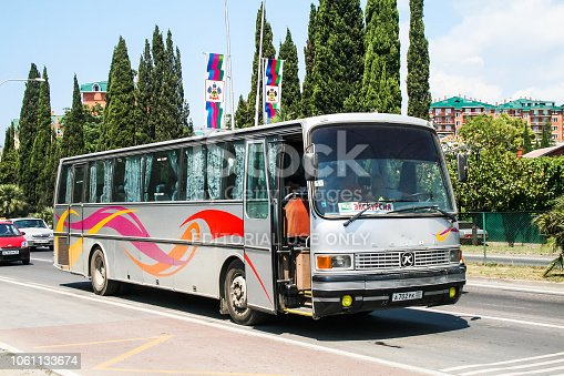 Sochi, Russia - July 26, 2009: Touristic coach bus Setra S215HU in the city street.