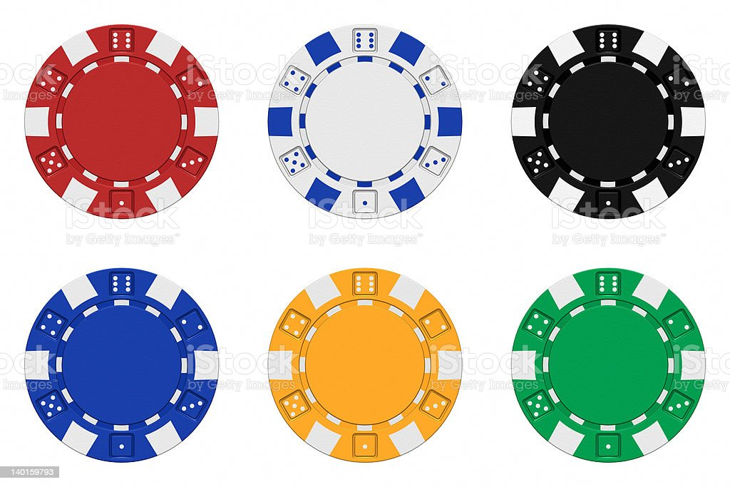 Sets of 3d rendered colored casino chips stock photo