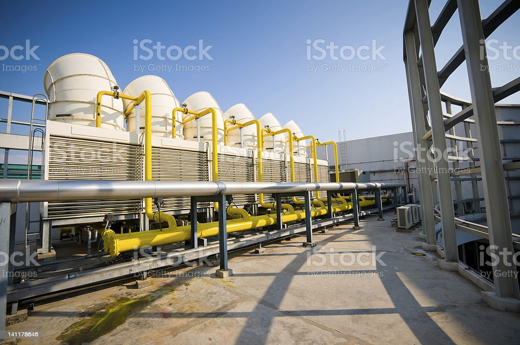 Sets of cooling towers in conditioning systems stock photo