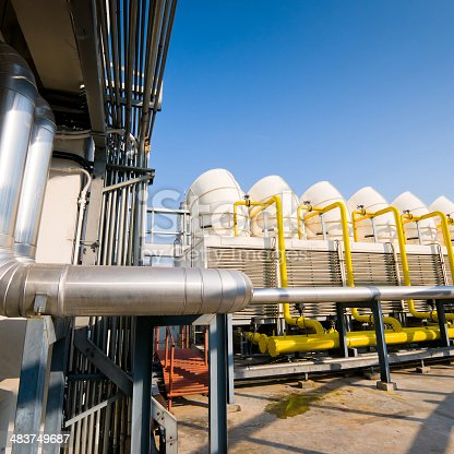 istock Sets of cooling towers in conditioning systems 483749687