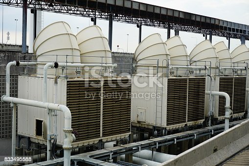 istock Sets of cooling towers in conditioning systems 833495588