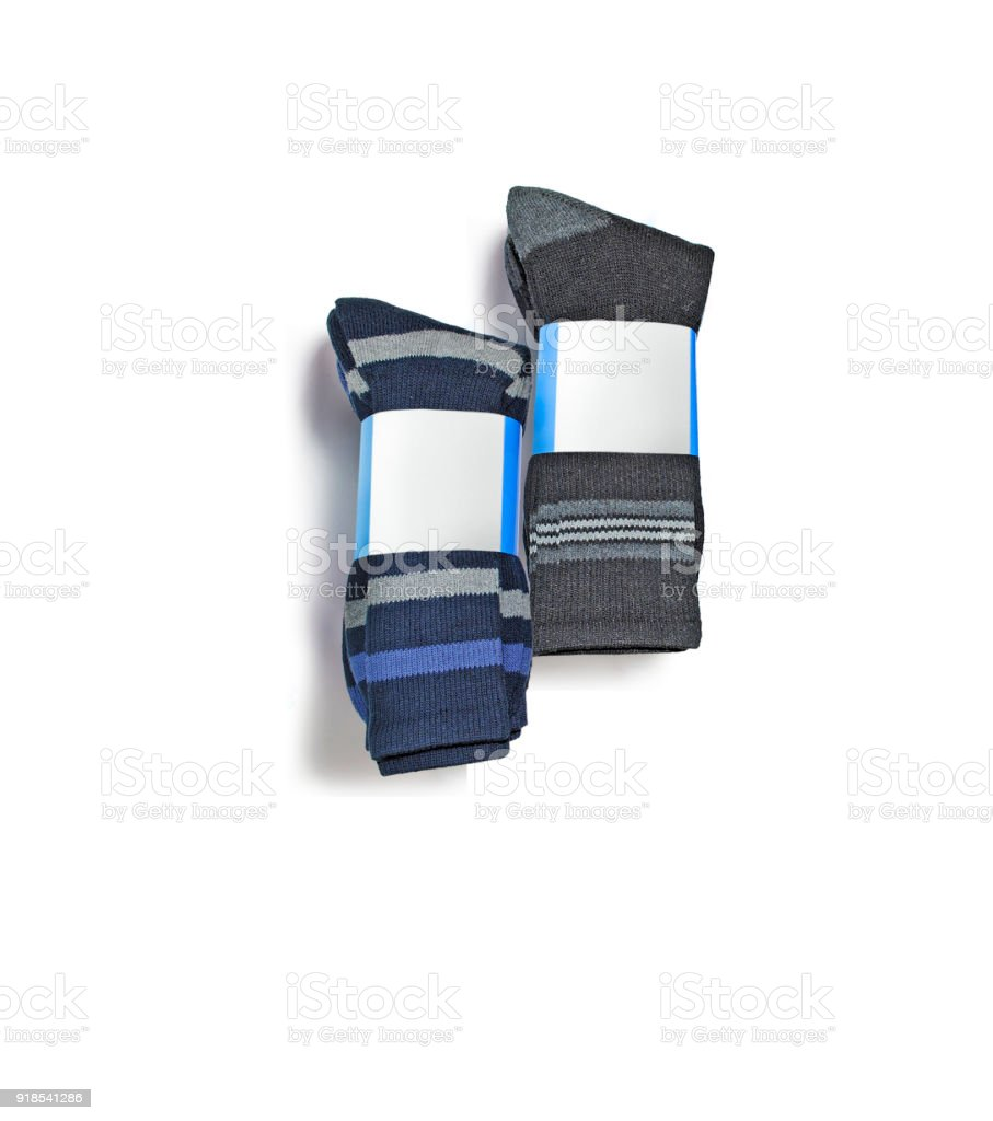 sets of new socks with packaging stock photo