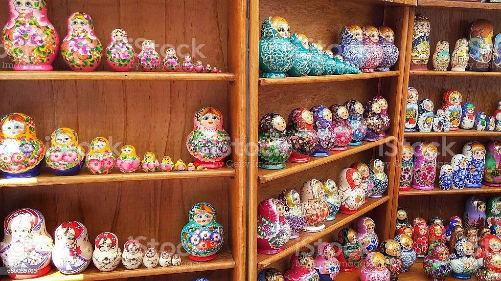 Sets of Russian Matryoshka Nesting Wooden Painted Dolls Collection stock photo