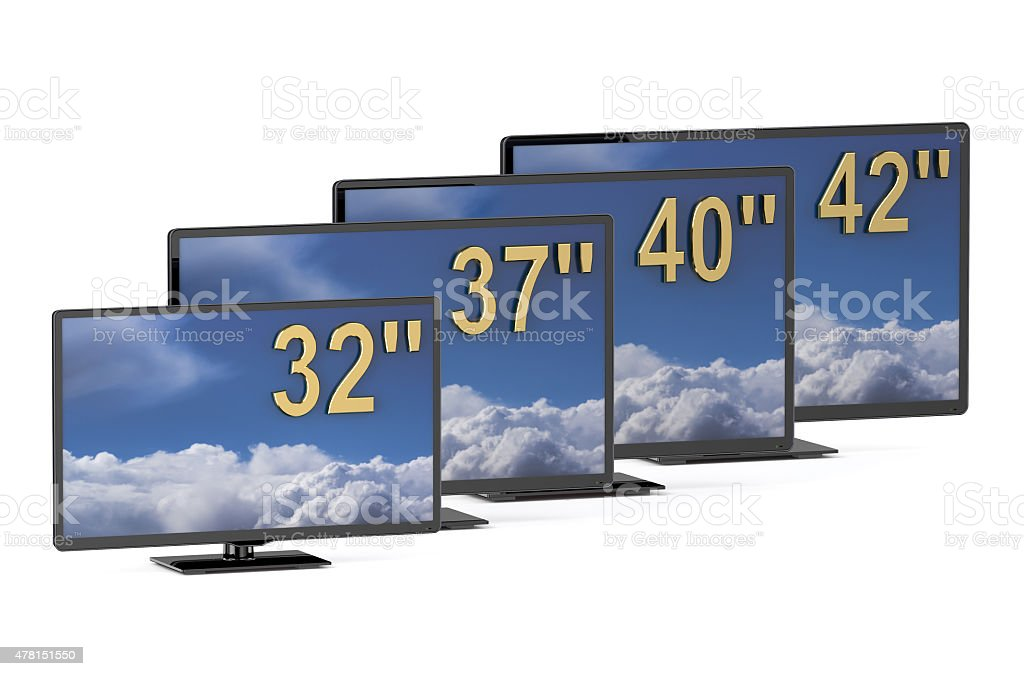 TV sets with different diagonal stock photo