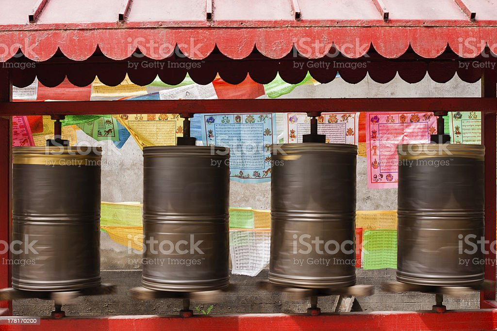 Setting all the prayer wheels turning royalty-free stock photo