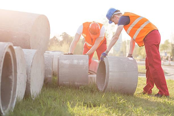 Setting concrete circles stock photo